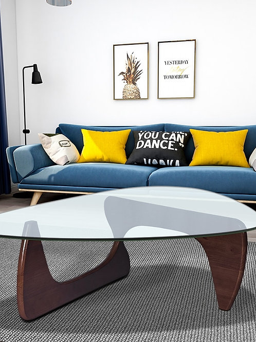 Walnut Coffee Table for Living Room Sofa Side Table Triangle Small Coffee Table
