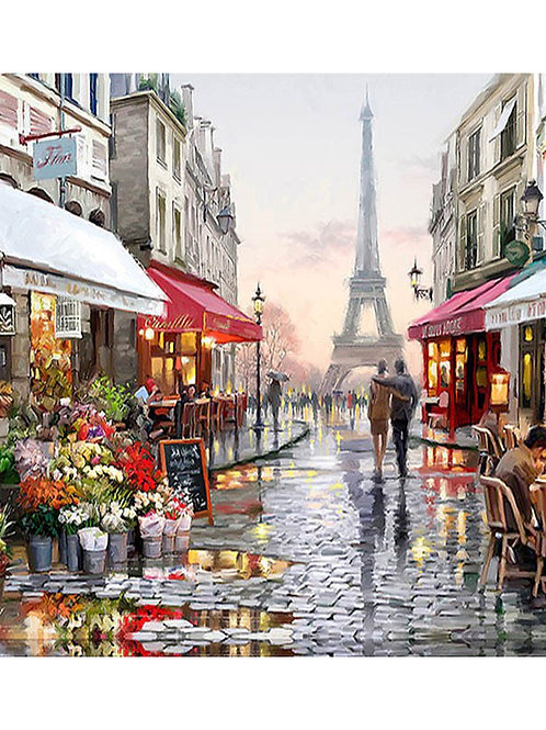 Painting by Numbers DIY Dropshipping 50x65 60x75cm Romantic Dating Street