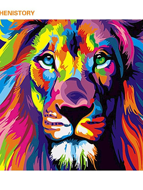 Frameles Colorful Lion Animals Abstract Painting Diy Digital Painting by Number