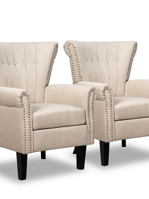 Set of 2 Fabric Accent Arm Chair Tufted Upholstered Single Sofa Club Chair Beige