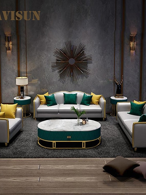 Modern Luxury Leather Sofa Chaise Sets Golden Metal for Living Room One Two Thre