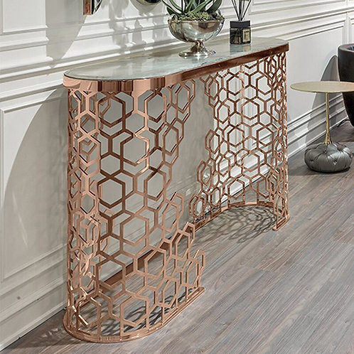 Custom Italian Design Marble Top Pink Gold Stainless Steel Hallway Console Table