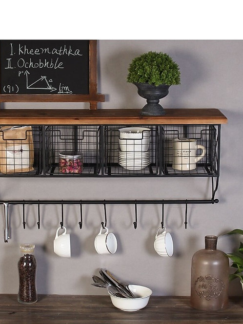 Retro Industrial Grid Wall Decoration Rack Hook Cafe Office Home Wall Hanging
