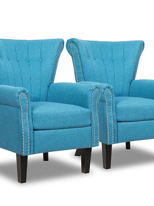 Set of 2 Fabric Accent Arm Chair Tufted Upholstered Single Sofa Club Chair Blue