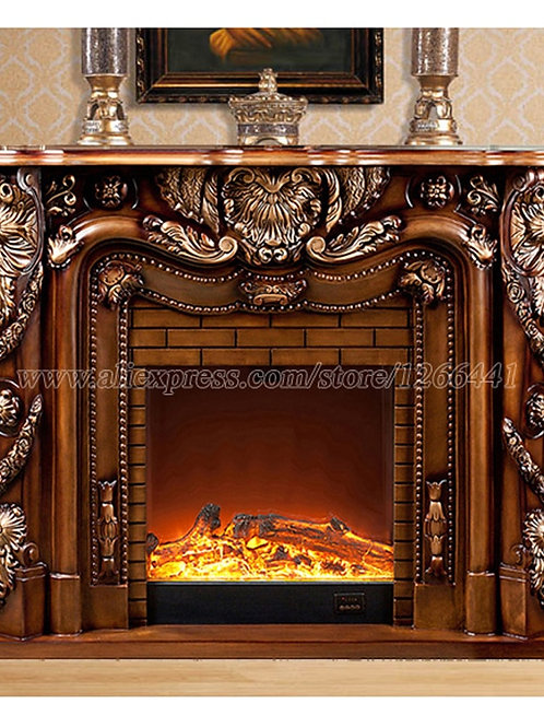 Deluxe Fireplace W150cm European Style Wooden Mantel Plus Electric Fireplace