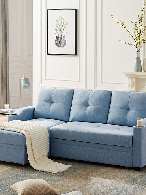 Sofa Bed Reversible Sectional Couch With Storage Chaise and Two Cupholders Set
