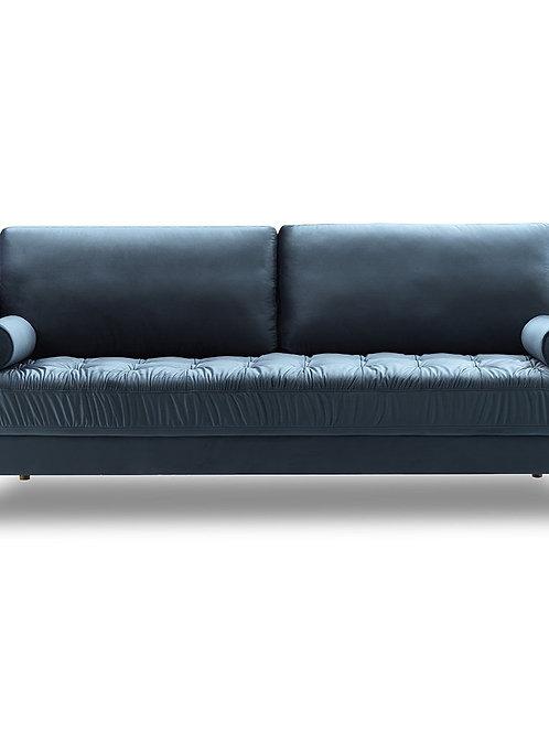Bente Tufted Velvet 3-Seater Sofa - Light Blue