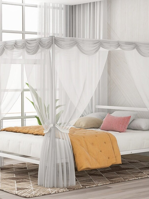 Metal Framed Canopy 4 Posters Platform Bed Frame Strong Steel Mattress No Box