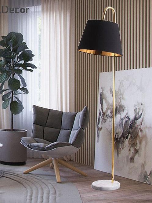 Modern Loft Led Floor Lamp Black Fabric Lampshade
