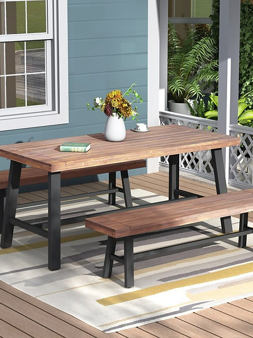 Patio Set Furniture Table and Bench Set Three Pieces Outdoor Furniture Set P