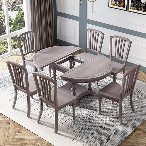 Modern Grey Color Solid Wood Extendable Round Dining Table With 6 Chairs