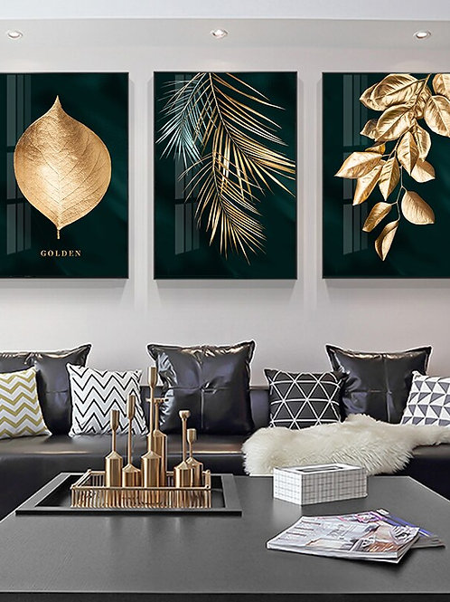 Nordic Decoration Golden Leaf Canvas Abstract Painting Wall Art Poster