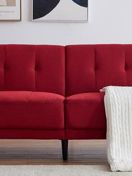 Modern Design Antique Red Modern Polyester Fabric Sofa  Apt Sofa Bed Furniture