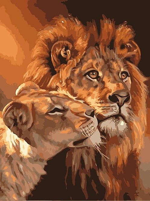 Framed Lions Family Animals DIY Painting by Numbers Acrylic Picture Modern Art