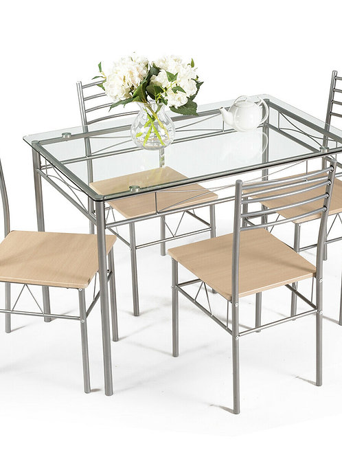 Costway 5 Piece Dining Set Table and 4 Chairs Glass Top  Breakfast Furniture