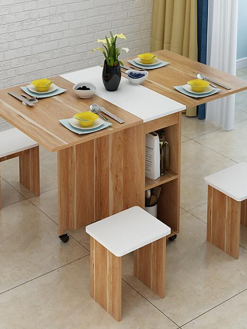 Moveable Foldable Table Chair Set Kitchen Storage Cabinet Dining Table , 4 Stool