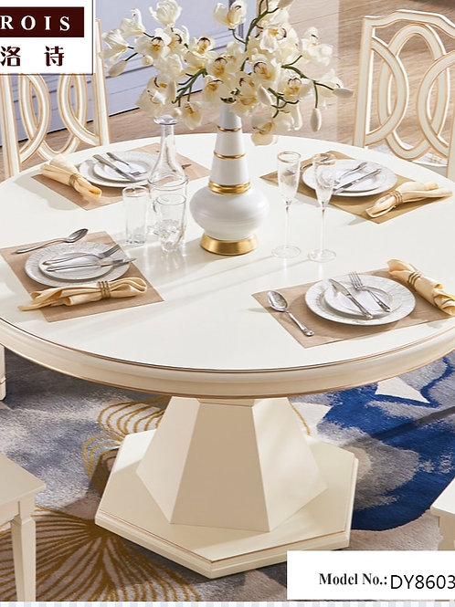KAROIS DY8603American Solid Wood Round Dining Table Chair Combination Kitchen