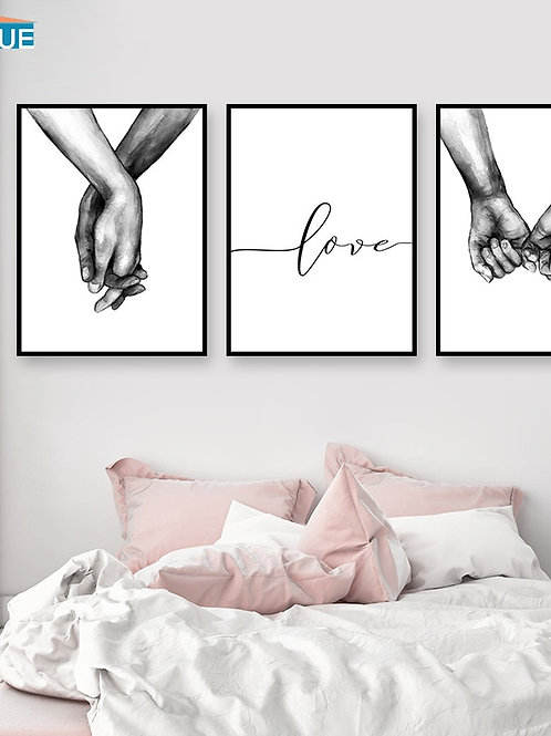 Nordic Poster Black and White Holding Hands Canvas Prints
