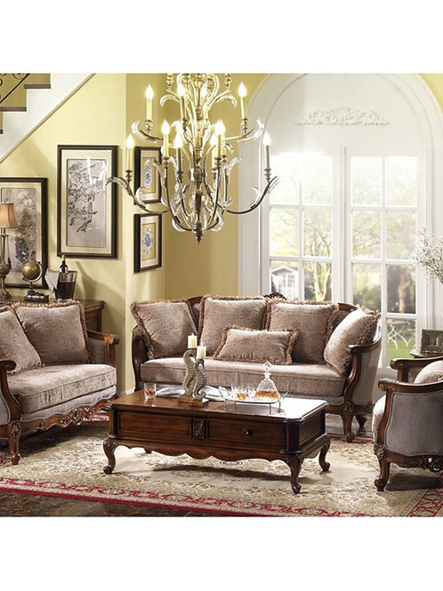 America Classic Style Hand Carving Living Room Wooden 123 Sofas Set