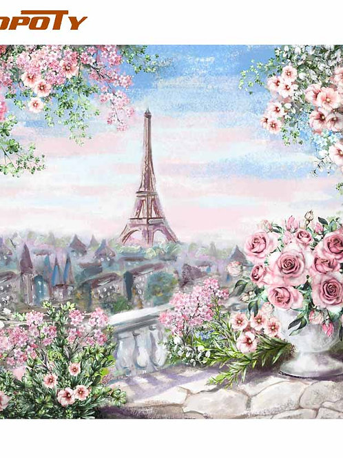 RUOPOTY Frame Romantic Paris DIY Painting by Numbers Landscape Acrylic  60x75cm