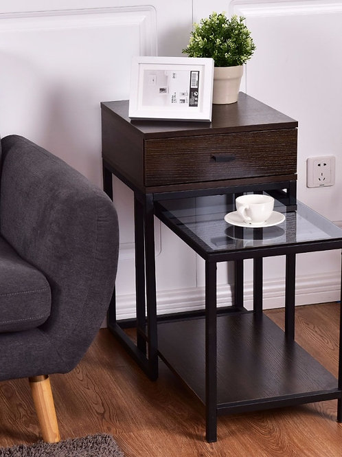 Goplus 2PCS Set Nesting Modern Coffee Side Table Wood Portable End Table HW56083
