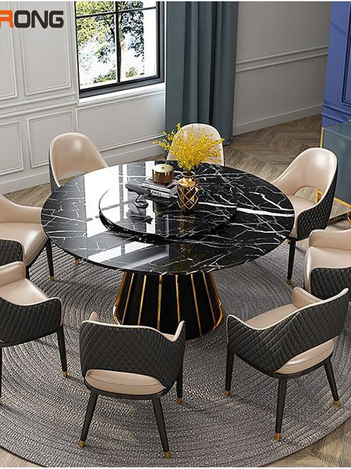 Italy Luxury Simple Design Marble Stone Black Home Dining Room  Round Kitchen