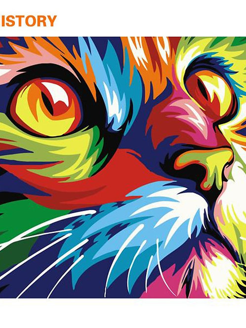 CHENISTORY Frameless Cat Animals DIY Painting by Numbers Kit Color 40x50 Artwork