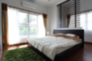 design of interior white bedroom in mode