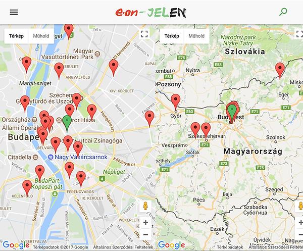 Pontok, ahol elérhető a Jeleven app