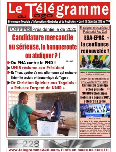 PNA contre le PND, Dr. Apôtre d'une alternance qui restaure l'identité sociale et économique du Togo