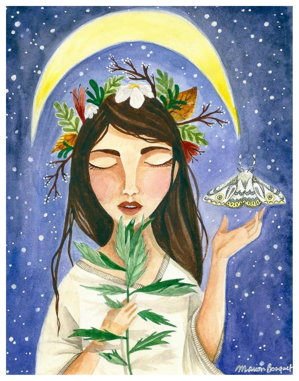Woman holding mugwort under the moon - watercolour illustration