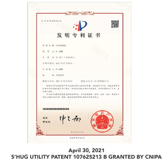 CHINA APPROVED S'HUG UTILITY PATENT