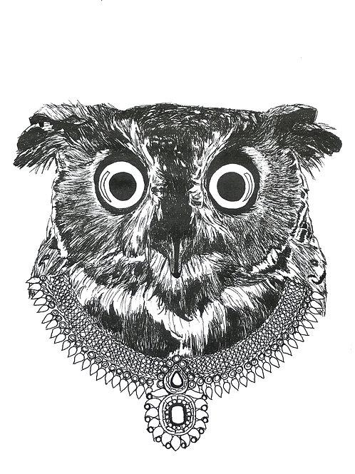 Owl royal necklace Print