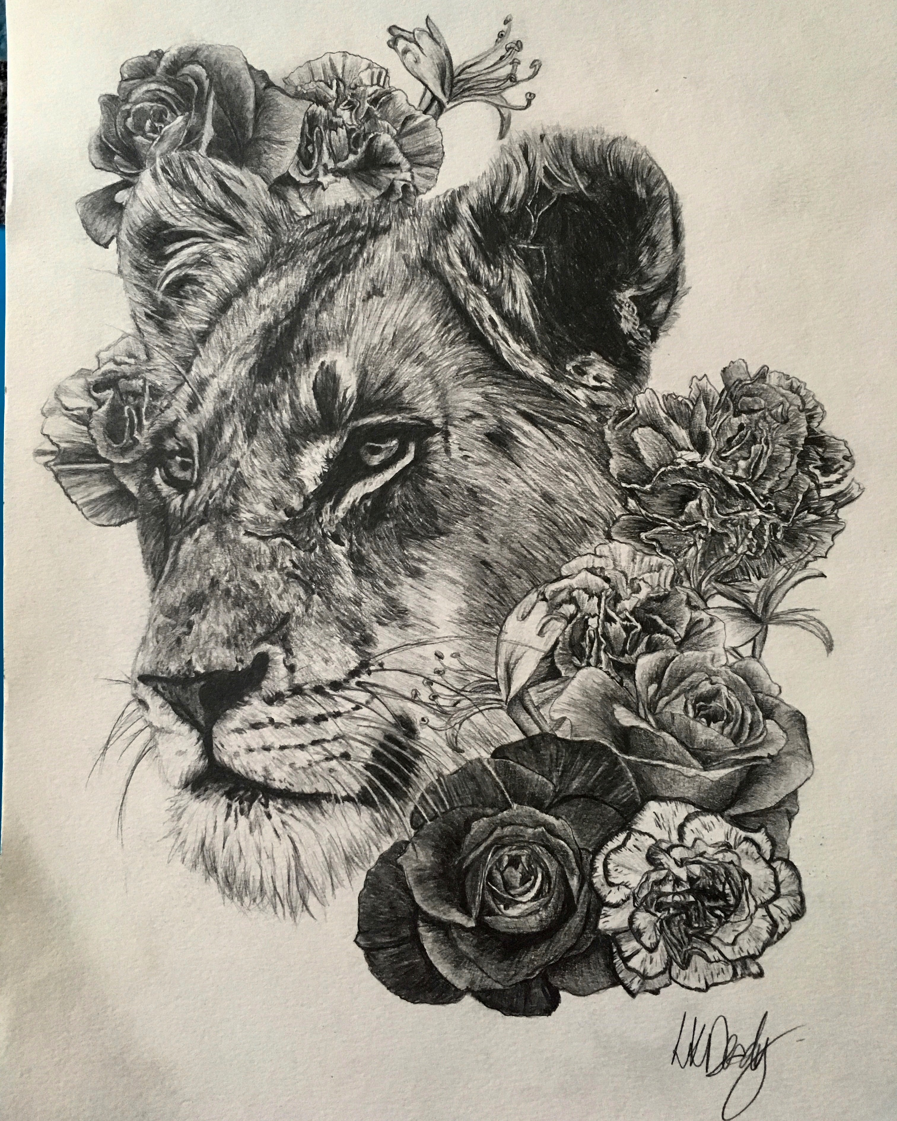 Lioness & flowers A4