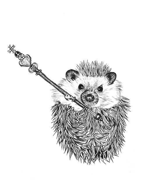 Hedgehog royal staff Print