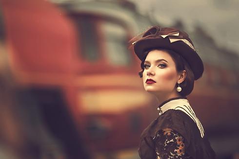 woman 1800s vintage train .png