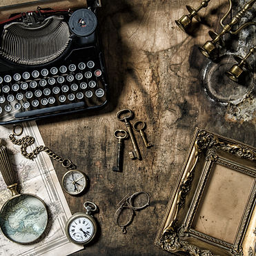 Antique typewriter and vintage office to