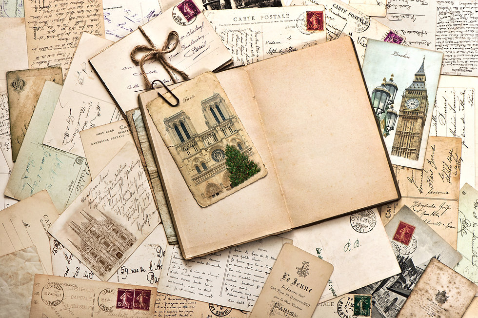 old postcards and open empty book. vinta