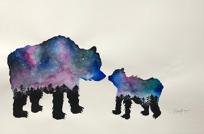 Galaxy Bears original watercolor by Christi-Anne Plough