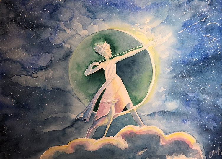 Artemis original watercolor by Christi-Anne Plough