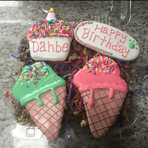 Deluxe Ice Cream Cones Birthday Treat Box Grain Free