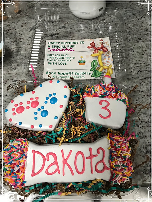 Large Personalized Birthday Treat Box with birthday card Grain Free