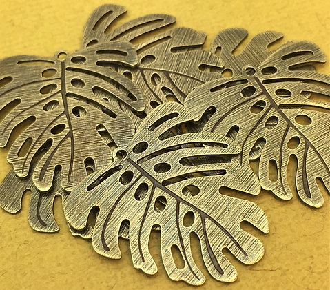 Monstera Leaf Charms - Textured & Polished - 4 Pieces