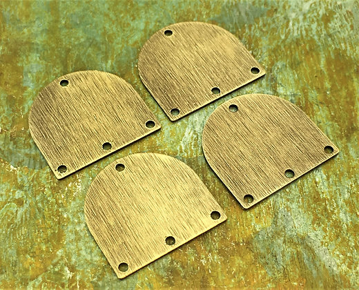 Textured D Shaped Connectors - Antiqued & Polished - 4 Pieces