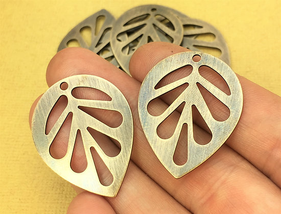 Large Leaf Slice Charms - Antiqued & Polished - 4 Pieces