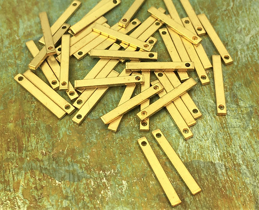 15mm Raw Brass Bar Charms - 20 Pieces