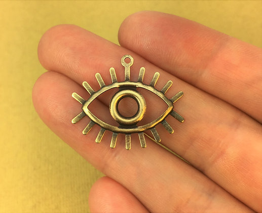 Hand Antiqued Brass Eye Charms - 4 Pieces