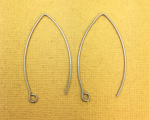 Large Stainless Steel Marquise Hoop Ear Wire - 20 Pieces