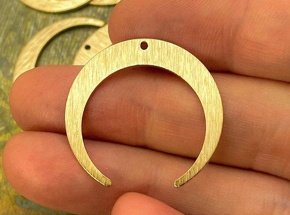 Raw Brass Crescent Moon Pendant