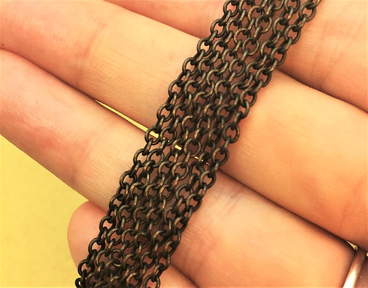 3mm x 2mm Brass Oval Cable Chain - 5ft